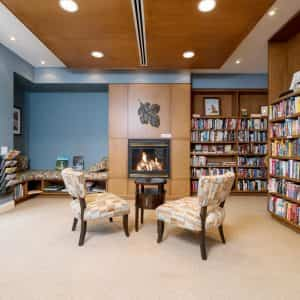 Library with Fireplace and Comfortable chairs for reading