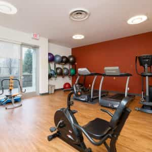 Exercise Room with Treadmills, Elliptical Trainers and Exercise Bikes